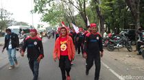 Buruh Pendukung Prabowo Aksi Longmarch Estafet ke Jakarta