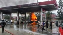 Mobil Ludes Terbakar, Apinya Hanguskan SPBU Pangkalpinang