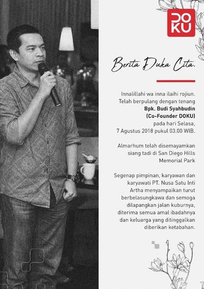 Foto: Budi Syahbudin, Pendiri Doku Meninggal Dunia