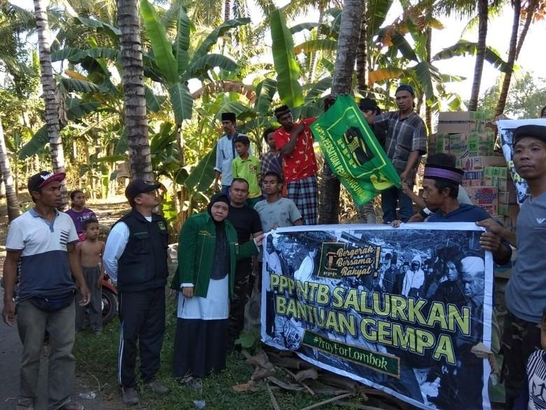 Beri Bantuan, PPP Datangi Lokasi Gempa Lombok Terparah