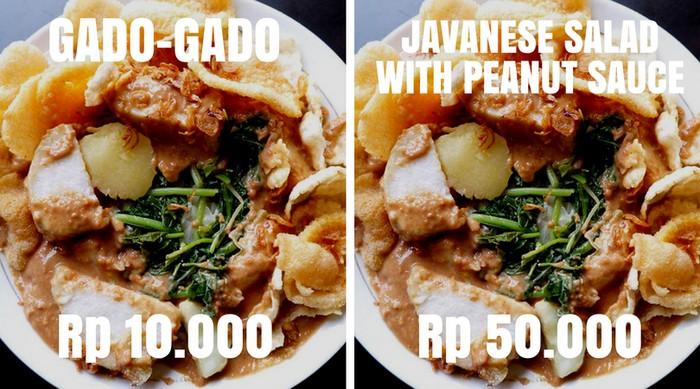 Siapa bilang Indonesia tidak punya salad? Buktinya menu gado-gado ini harganya langsung melonjak tinggi, setelah dirubah namanya menjadi Javanese Salad with Peanut Sauce. Foto: Istimewa