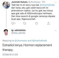 Komentar dokter bernama Falla Adinda di Twitter, bahwa obat tersebut bisa jadi ada kandungan estradiol.