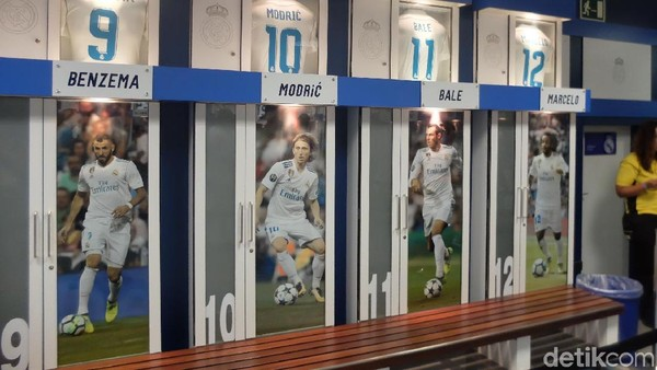 Bahkan, pengunjung bisa merasakan bagaimana rasanya menjadi pemain Real Madrid dengan melihat tempat duduk para pemain Real Madrid (Dhani Irawan/detikTravel)