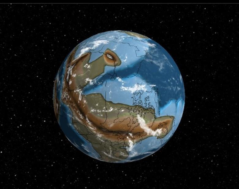 Potret Bumi pada periode Cryogenia sekitar 700 juta tahun yang lalu. Organisme bersel tunggal seperti alga muncul untuk pertama kalinya. (Foto: Ancient Earth Globe.)