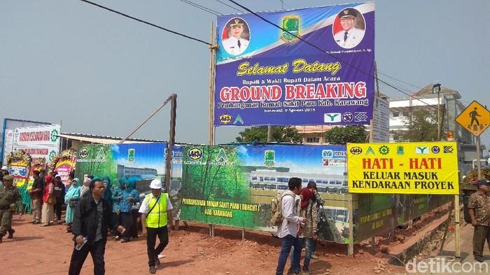 Lokasi ground breaking RS Paru Karawang yang dibangun dengan cukai rokok (Foto: Luthfiana Awaluddin/detikHealth)