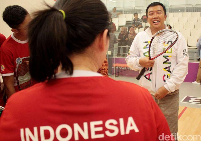 Menpora Imam Nahrawi saat meninjau langsung persiapan Timnas squash di GBK, Senayan, Jakarta, Kamis (9/8/2018).