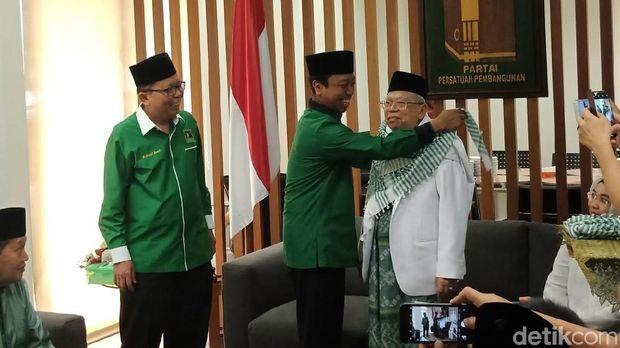 KH Ma'ruf Amin di kantor PPP, Jumat (10/8/2018)