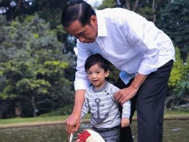 Jokowi dan Jan Ethes main bersama entok di Istana Bogor. (Foto: Instagram @jokowi)
