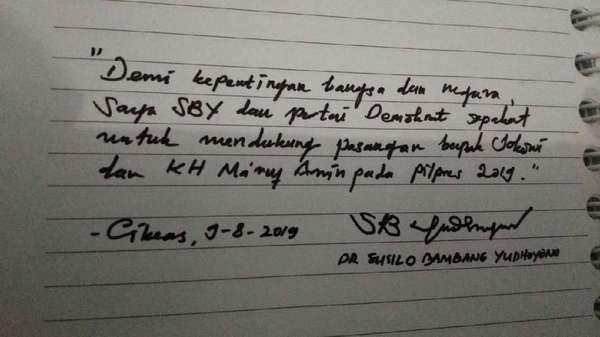 PD: Tulisan Tangan SBY Dukung Jokowi-Maruf Hoax