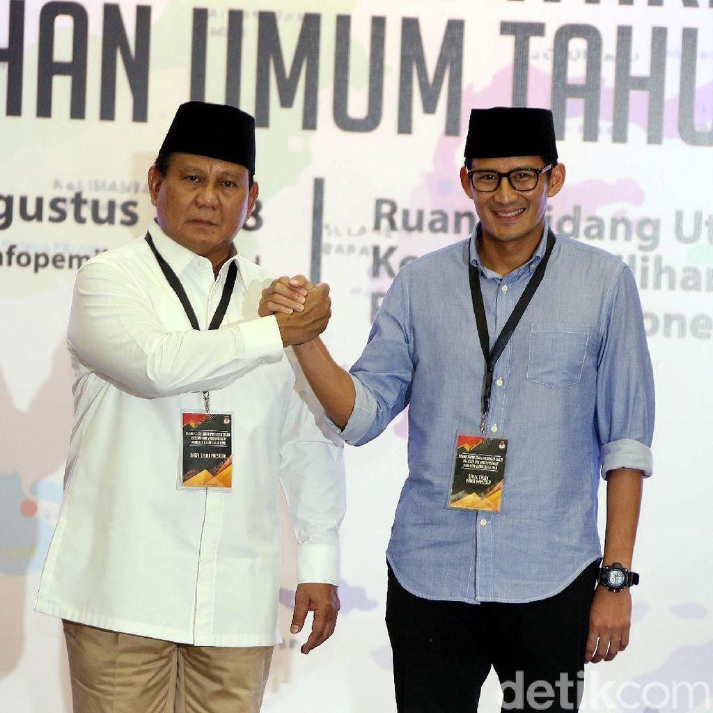 Prabowo-Sandi akan Datang Lebih Awal di KPU Dibanding Jokowi