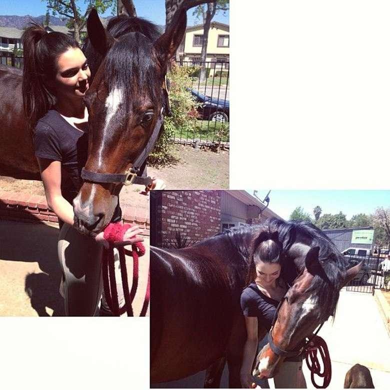 Saya sangat menyukai binatang. Saya berkuda selama lebih dari 10 tahun, jadi saya pikir saya akan menjadi atlet kuda profesional atau dokter hewan, ungkap Kendall. Foto: Instagram/kendalljenner