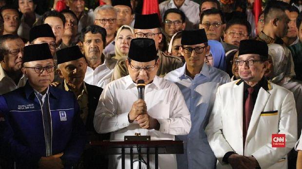 Prabowo bersama para pimpinan parpol koalisi pengusungnya.