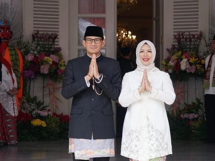 Nur Asia Uno bersama suami Sandiaga Uno. Foto: Instagram/nurasiauno