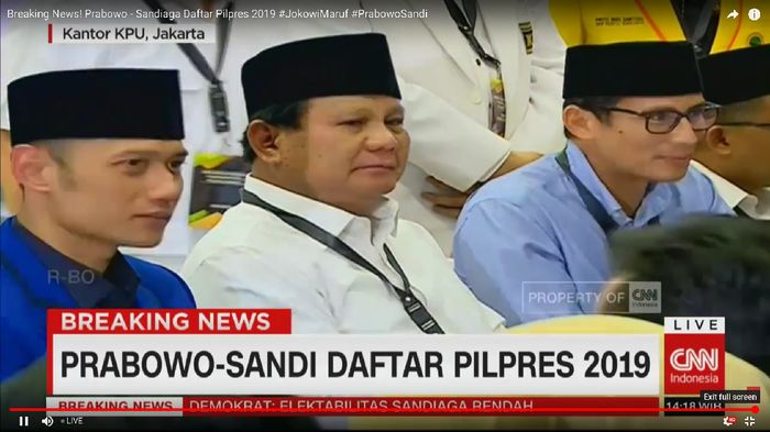 Foto: Prabowo Sandiaga AHY (Dok. CNN Indonesia TV)