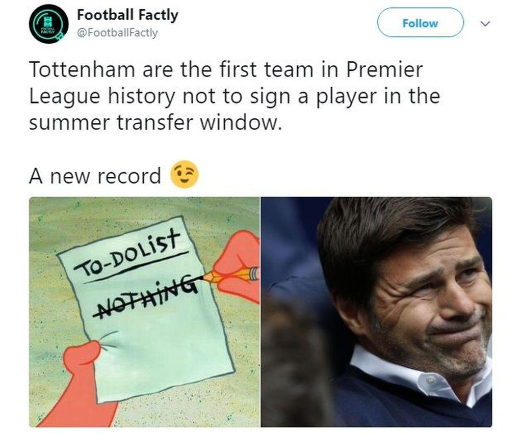 Tottenham sukses cetak rekor karena jadi klub pertama yang tidak merekrut pemain sepanjang bursa transfer musim panas. Foto: Istimewa