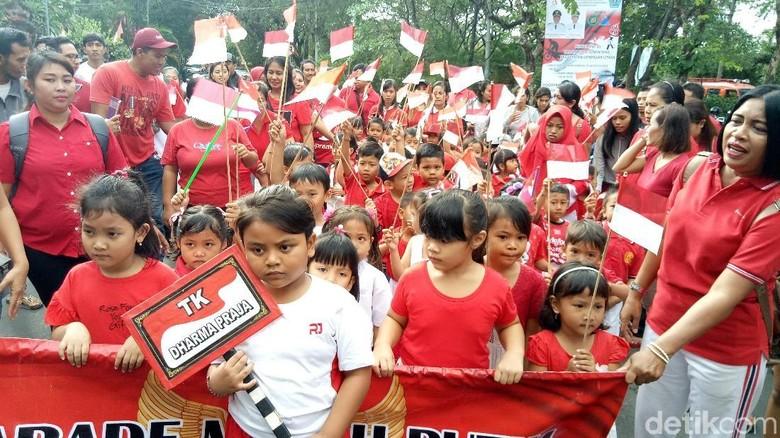 Sambut HUT RI ke-73, 3 Ribu Siswa TK Parade Merah Putih di Denpasar