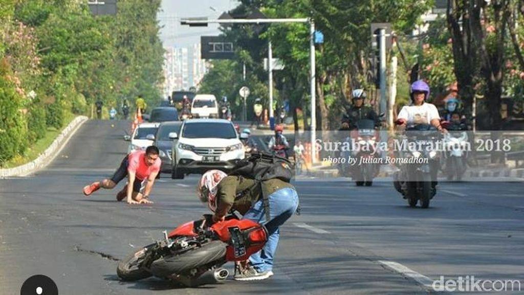 Viral Peserta Surabaya Marathon dan Biker Adu Bogem