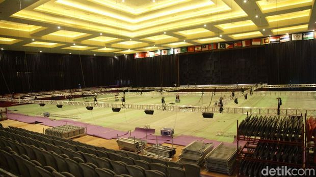 Venue senam Asian Games 2018 di JIEXPO Kemayoran belum beres.