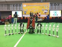 Deretan piala yang diraih Tim Robotika ITS di FIRA RoboWorld Cup 2018.