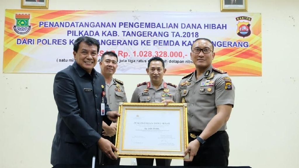 Polisi Kembalikan Dana Hibah Pilkada Tangerang Rp 1 M ke Pemkab