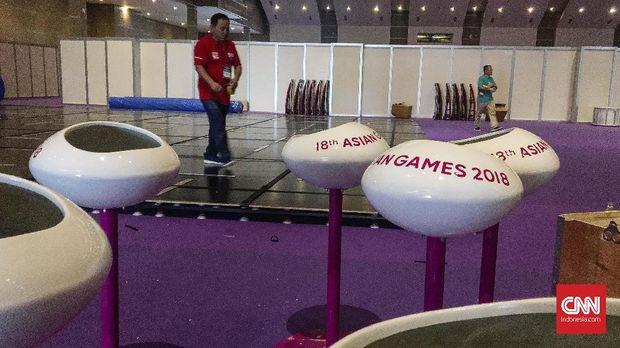 Ilustrasi pemasangan peralatan pertandingan Asian Games 2018.