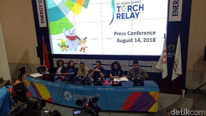 Konferensi pers menjelang kirab obor Asian Games 2018 di Jakarta. (Randy Prasatya/detikSport)