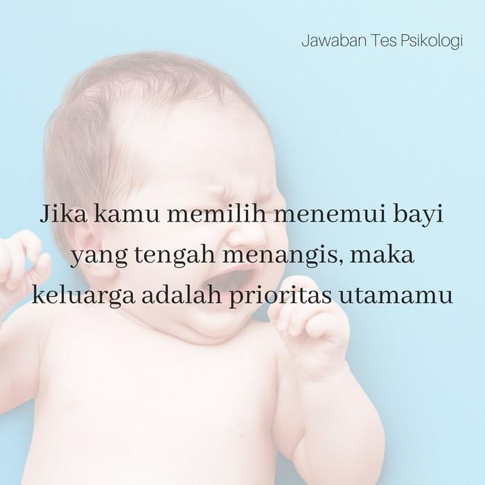 Bayi menangis mengisyaratkan sebuah keluarga. Hayo, kamu memilih untuk mendiamkan bayi yang menangis terlebih dahulu atau melakukan kegiatan lagi? Jawabannya melambangkan urutan prioritasmu. (Foto: Thinkstock/detikcom)