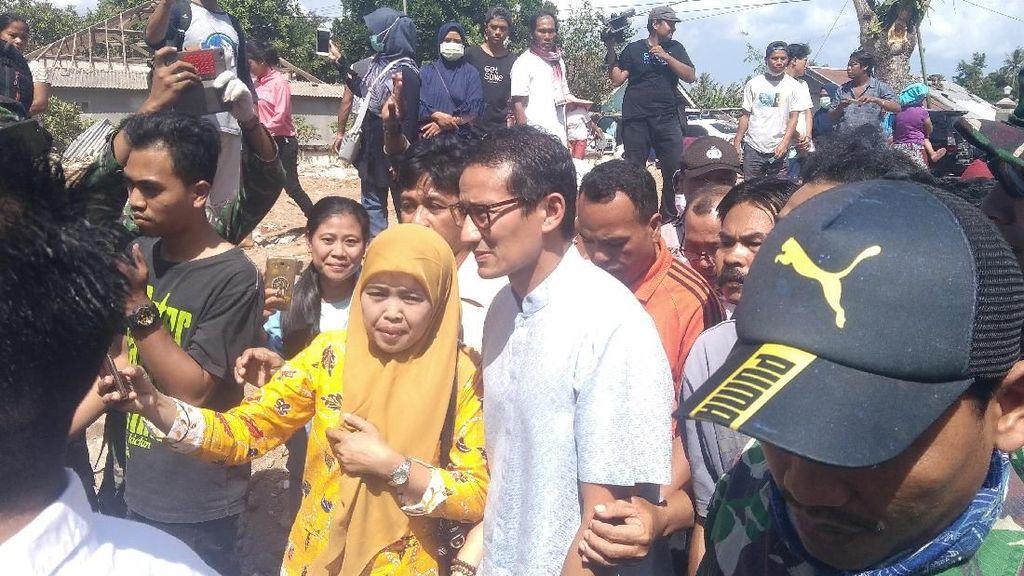 Sandiaga Sambangi Korban Gempa Lombok, Sampaikan Salam Prabowo