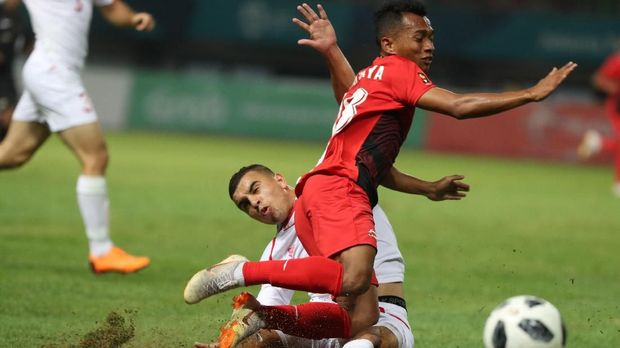 Timnas Indonesia U-23 kesulitan memberikan ancaman ke gawang Palestina.
