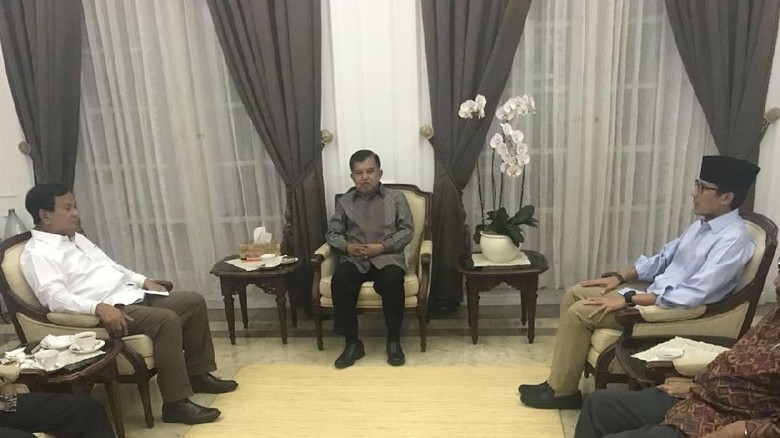 Ditemui Prabowo, JK Sebut Bersaing di 2 Pilpres tapi Tetap Sahabat