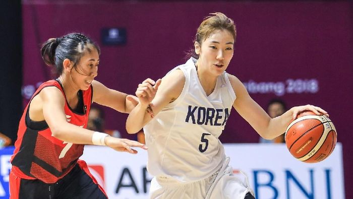 Pebasket Korea Hyejin Park saat menghadapi Indonesia (INASGOC/Wahyudin/Aa/18)