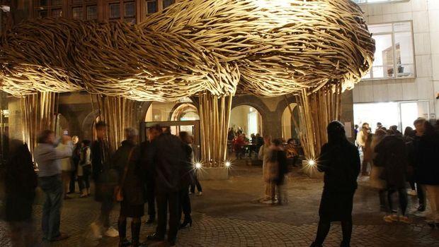 Karya seni bambu Joko Avianto di Frankfurt Book Fair 2018