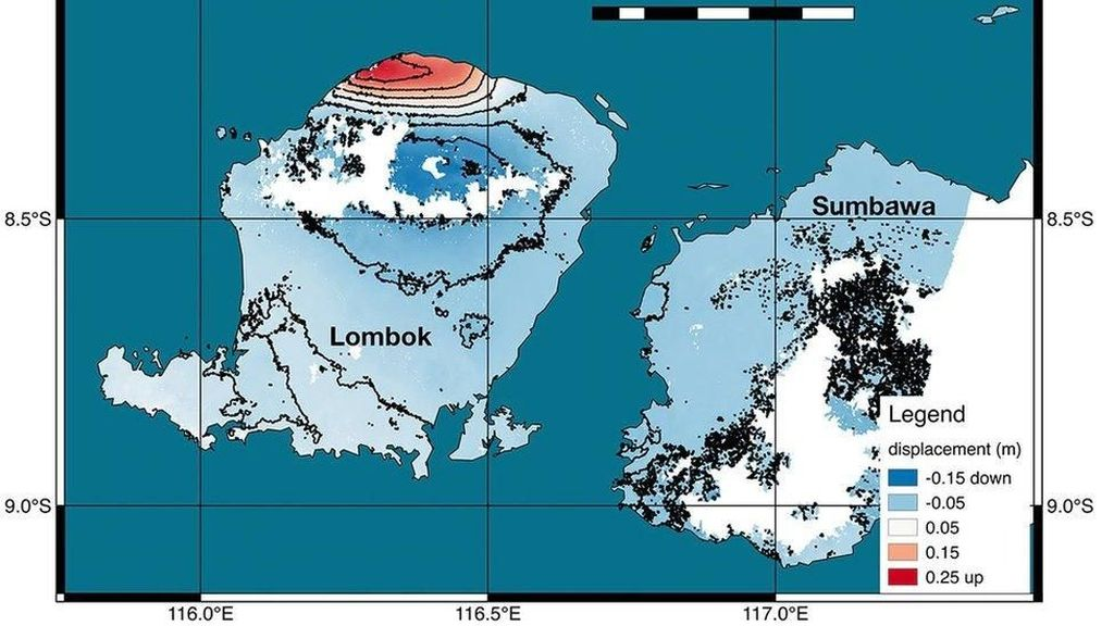 NASA: Gempa Lombok Sebabkan Permukaan Daratan Naik 25 Cm