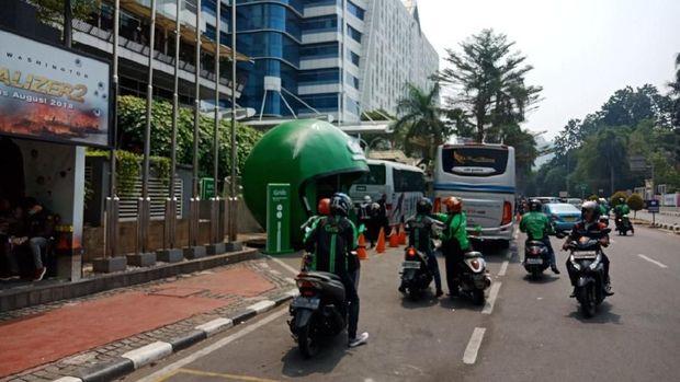 Penampakan terkini halte Grab di fX Sudirman