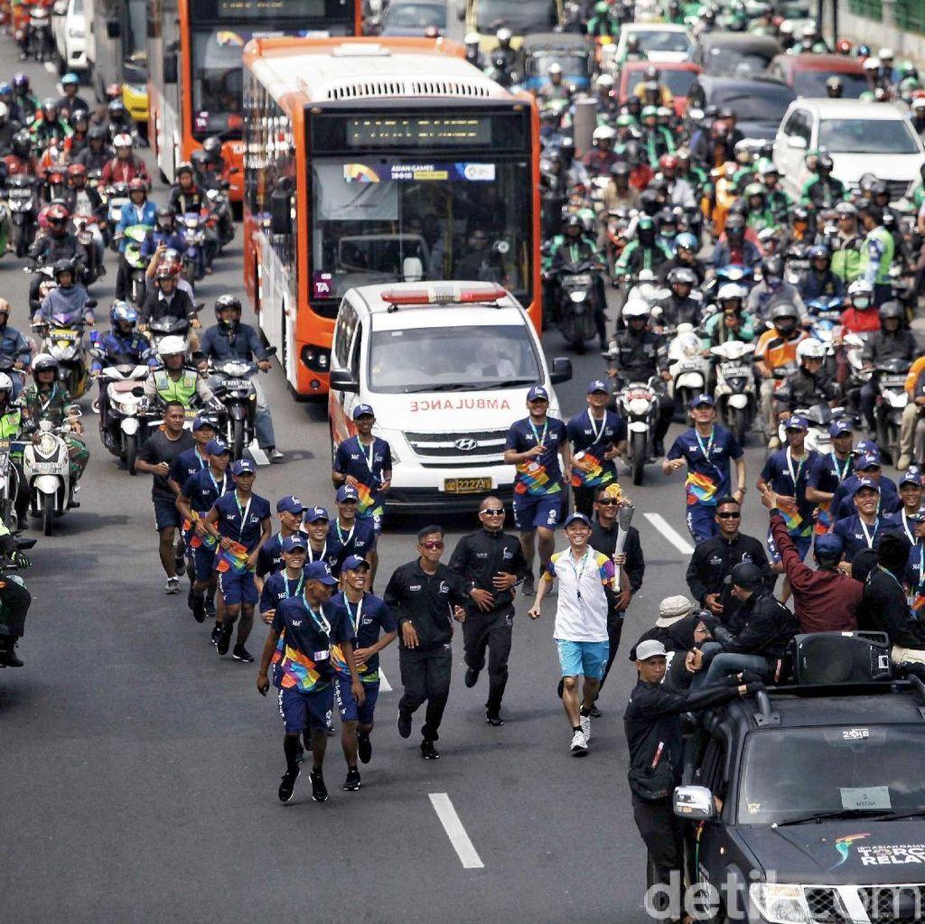 Obor Asian Games 2018 Tiba di Jakarta Pusat