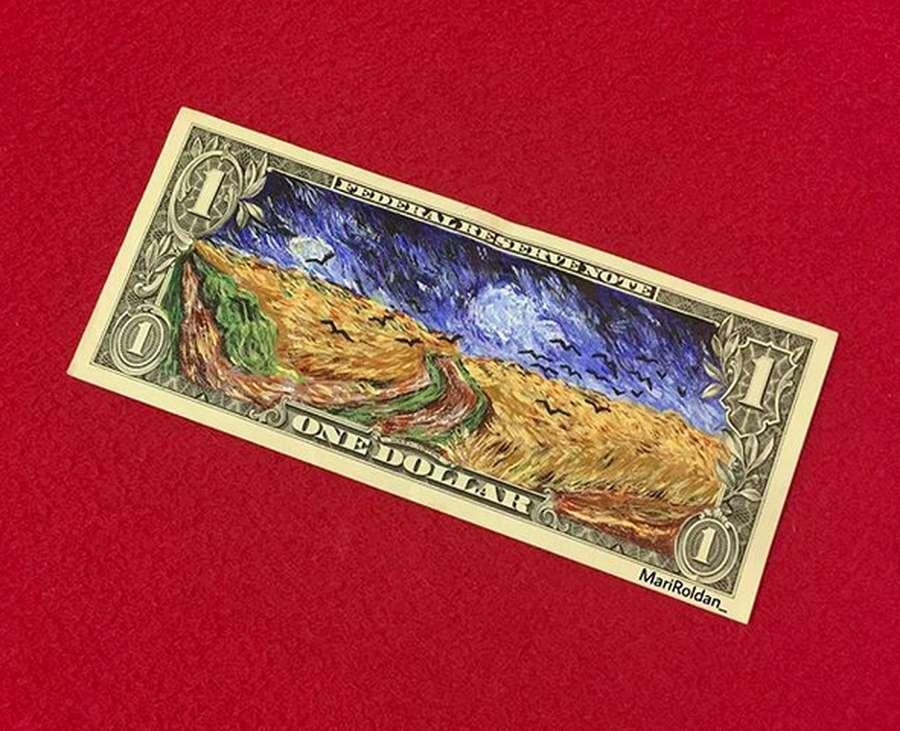 Keren! Seniman Ini Buat Gambar di Atas Uang