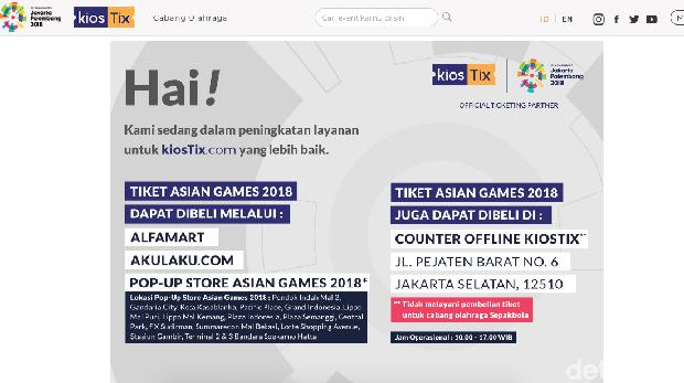 Situs Penjualan Tiket Asian Games KiosTix Down Berhari-hari, Ada Apa?