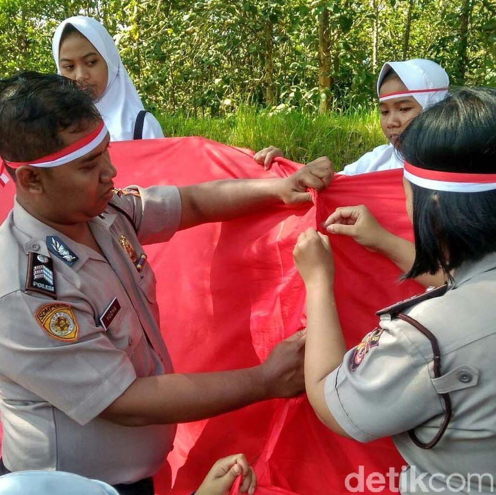 Keren! Warga Jahit Bendera Merah-Putih Sepanjang 3,3 KM