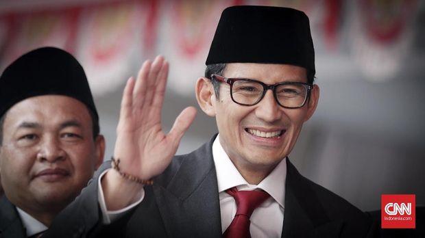 Bakal calon wakil presiden Sandiaga Uno, di Kampus Universitas Bung Karno (UBK), Jakarta, 17 Agustus.