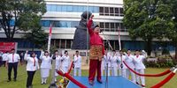 Peringatan Upacara Bendera Peringatan Hari Ulang Tahun Kemerdekaan Republik Indonesia ke-73 Tahun 2018 di Lapangan Anantakupa, Kantor Kementerian Kominfo, Jakarta, Jumat (17/08/2018).