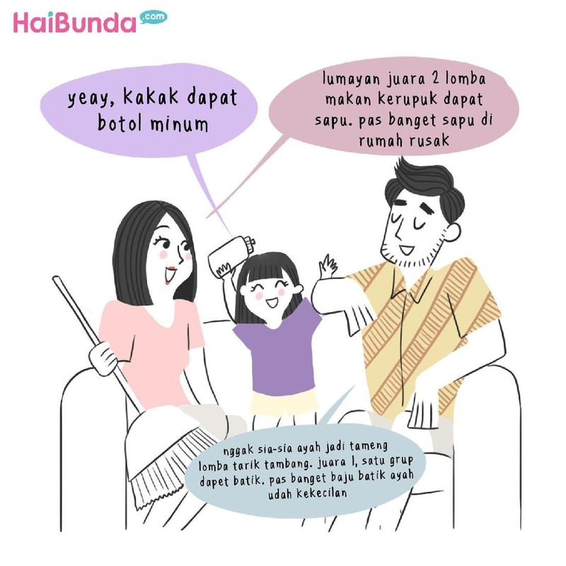 Begini keseruan keluarga bunda di komik ini saat lomba 17 Agustus. Di keluarga Bunda, gimana keseruan lomba 17-an? Cerita di kolom komentar yuk.