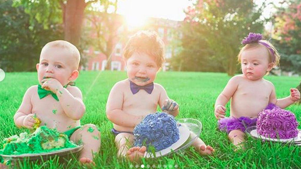 Gemas Banget! Ketika 6 Bayi Lakukan Cake Smash dengan Tema Pelangi
