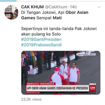Pro Jokowi Sayangkan Kubu Prabowo Politisasi 'Obor Asian Games Mati'