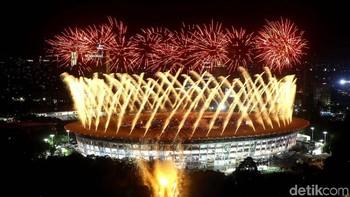 Potret Pesta Kembang Api di Pembukaan Asian Games 2018