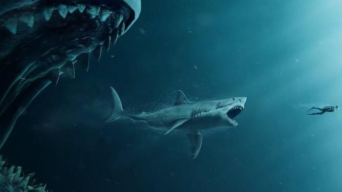 Ilustrasi Megalodon (kiri), hiu masa kini dan manusia. Foto: Istimewa