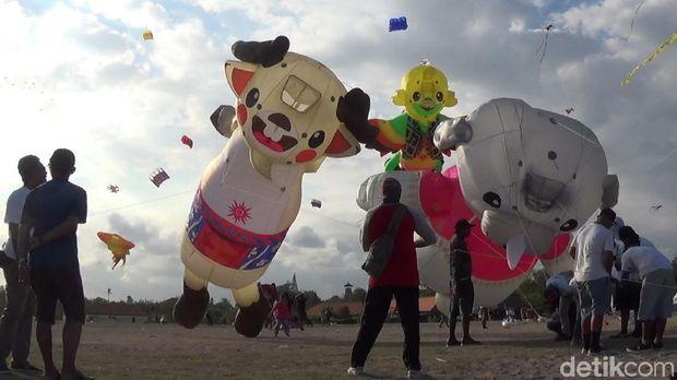 Di Bali Ada Layang-layang Jumbo Trio Maskot Asian Games 2018