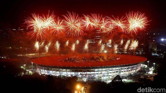 Pesta Kembang Api di Pembukaan Asian games 2018 (Foto: Grandyos Zafna/detikSport)