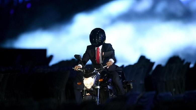 Aksi Jokowi Naik Moge di Asian Games Jadi Sorotan di China-Korsel