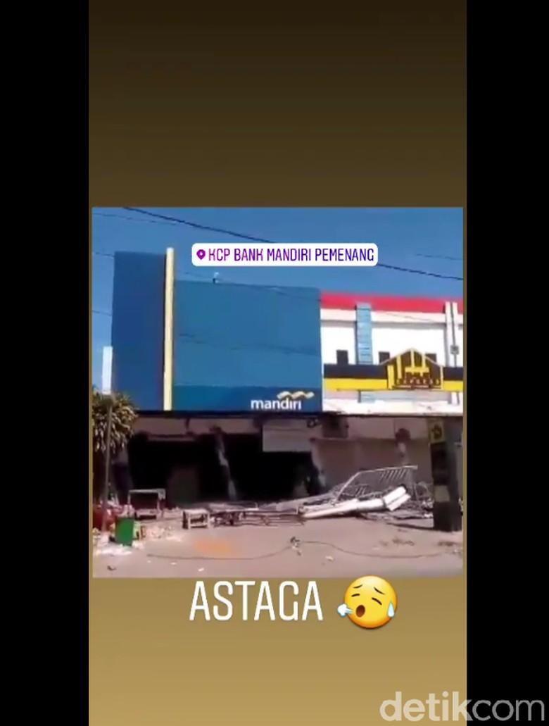 Video Bank Mandiri di Lombok Roboh Akibat Gempa Hoax, Ini Faktanya