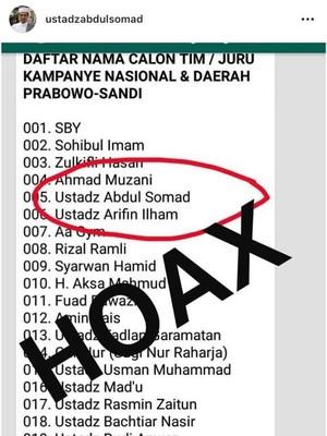 Namanya Masuk Daftar Timses Prabowo-Sandi, UAS: Hoax